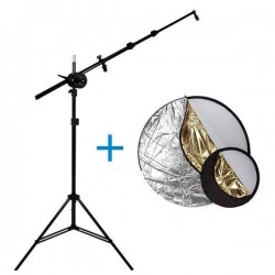 Kit Reflector 110cm 5 en 1 + Brazo + Pie de estudio
