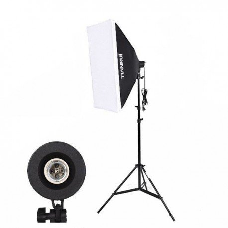 Kit iluminación para 1 bombilla + Pie + Softbox 50x70cm