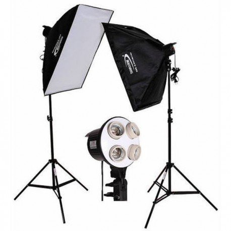 Kit iluminación para 4 bombilla + Pie + Softbox 50x70cm