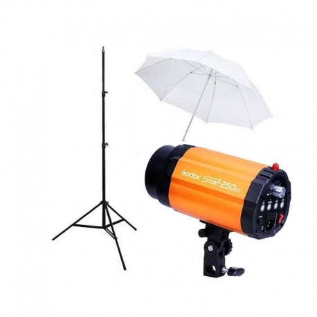 Kit Flash Estudio Godox smart 250sdi + Pie + Paraguas