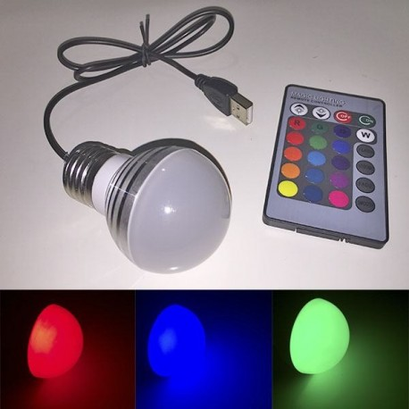 Bombilla Led RGB USB - Esferas Light Painting