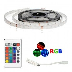 Kit Tira 1m LED RGB + Mini Controlador + Mando