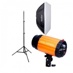 Kit Flash Estudio Godox Smart 300SDI + Pie + Softbox 50x70cm